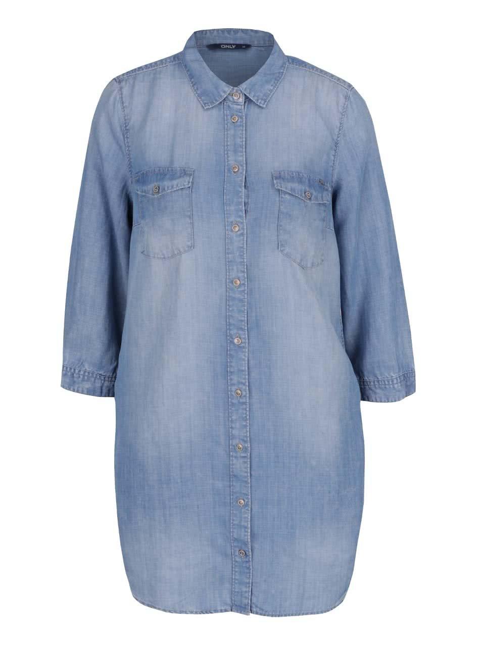 Modré džínové košilové šaty ONLY Bibi
