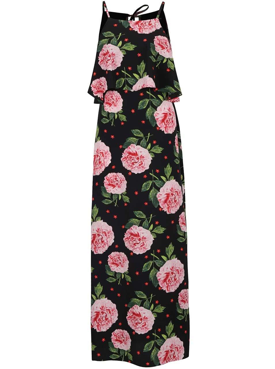 Černé květované maxišaty na ramínka Dorothy Perkins