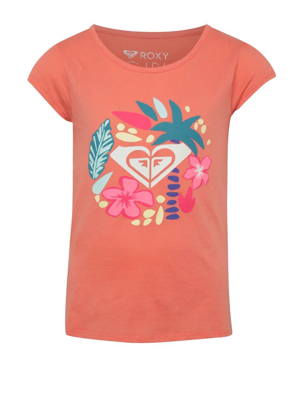 Oranžové holčičí tričko s potiskem Roxy