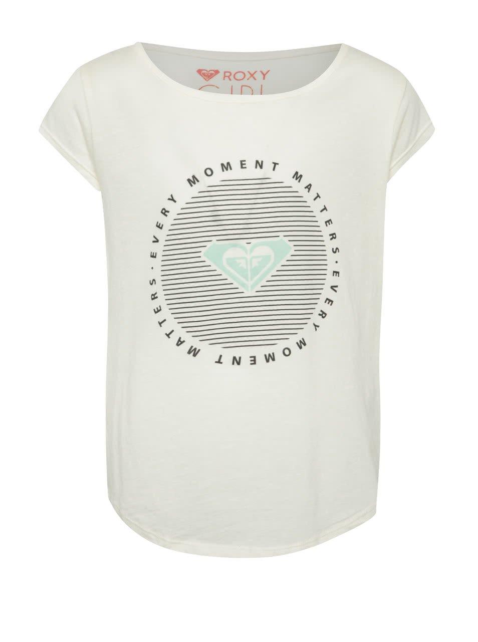 Krémové holčičí tričko s potiskem Roxy
