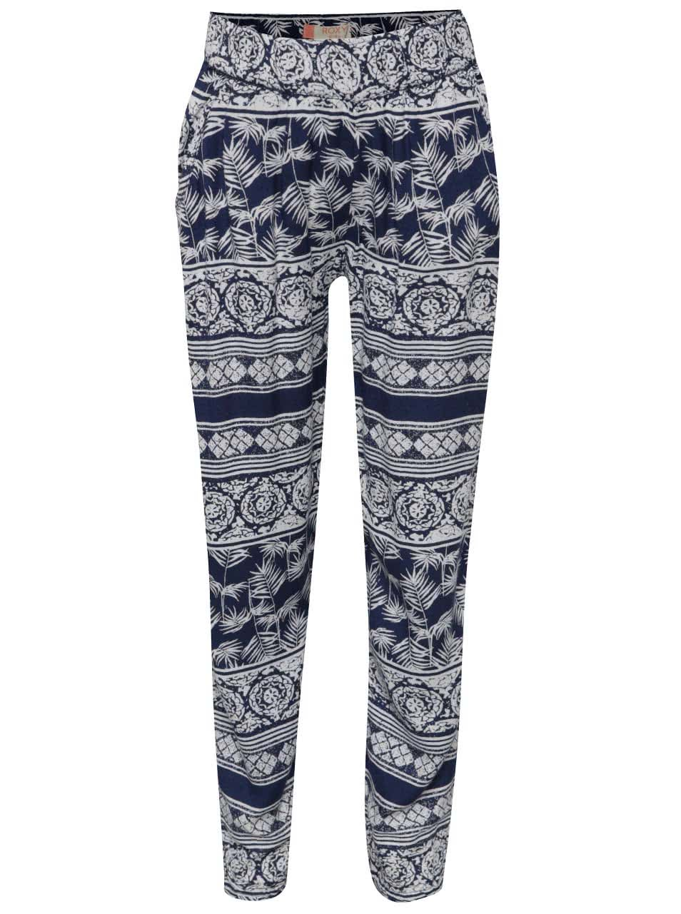 Bílo-modré holčičí vzorované kalhoty Roxy Wanna go holiday