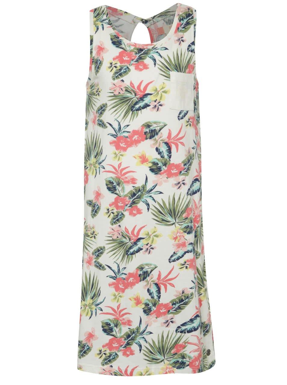 Krémové holčičí květované šaty Roxy Wind Blows