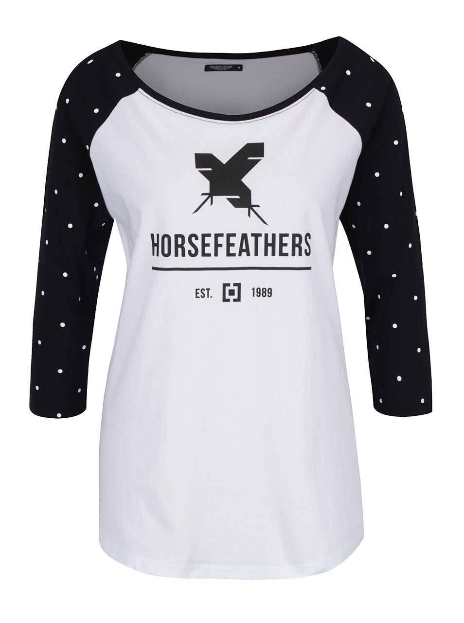 Černo-bílé dámské tričko s 3/4 rukávem Horsefeathers Justine