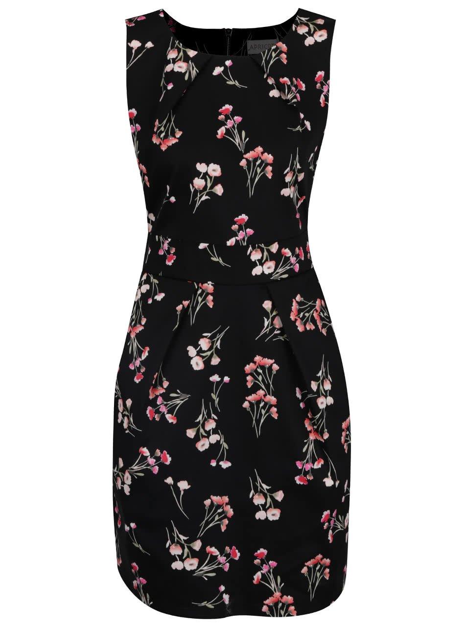 Černé květované šaty s kapsami a mašlí Apricot