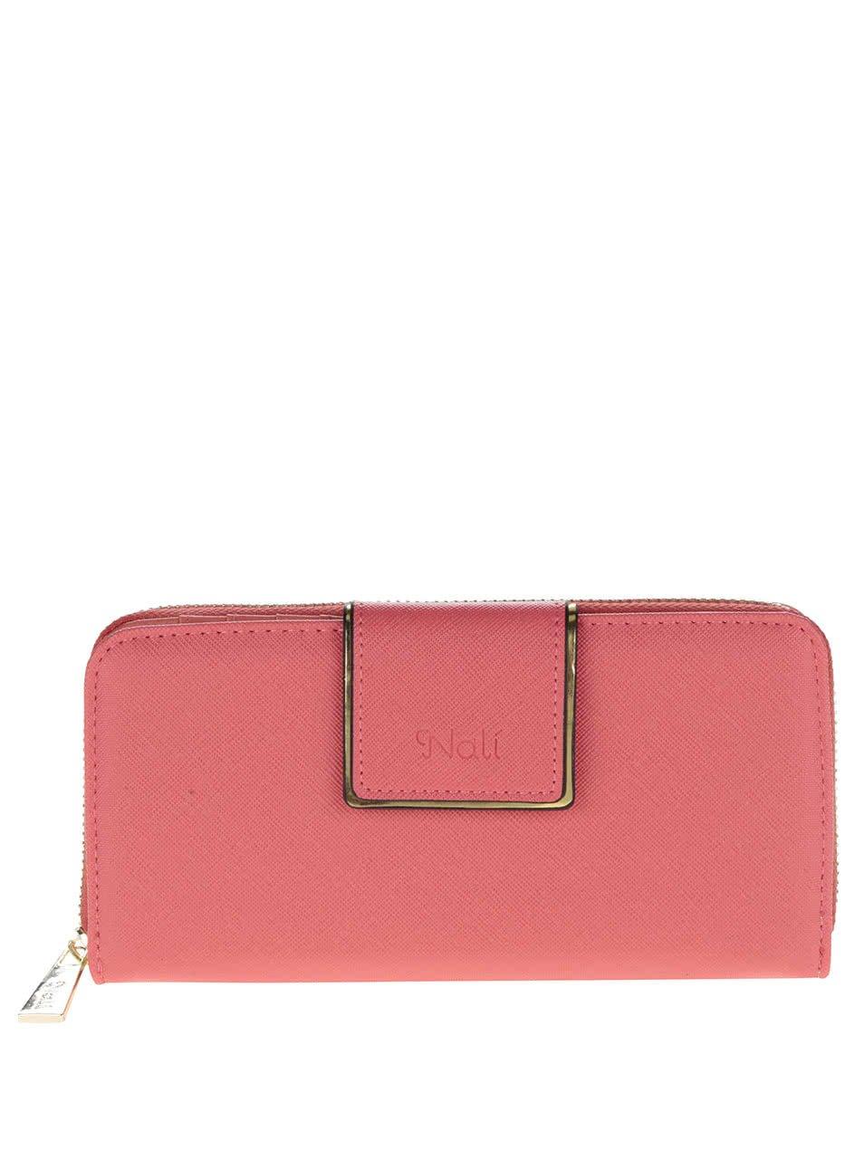 Neonově růžová peněženka s detaily ve zlaté barvě Nalí