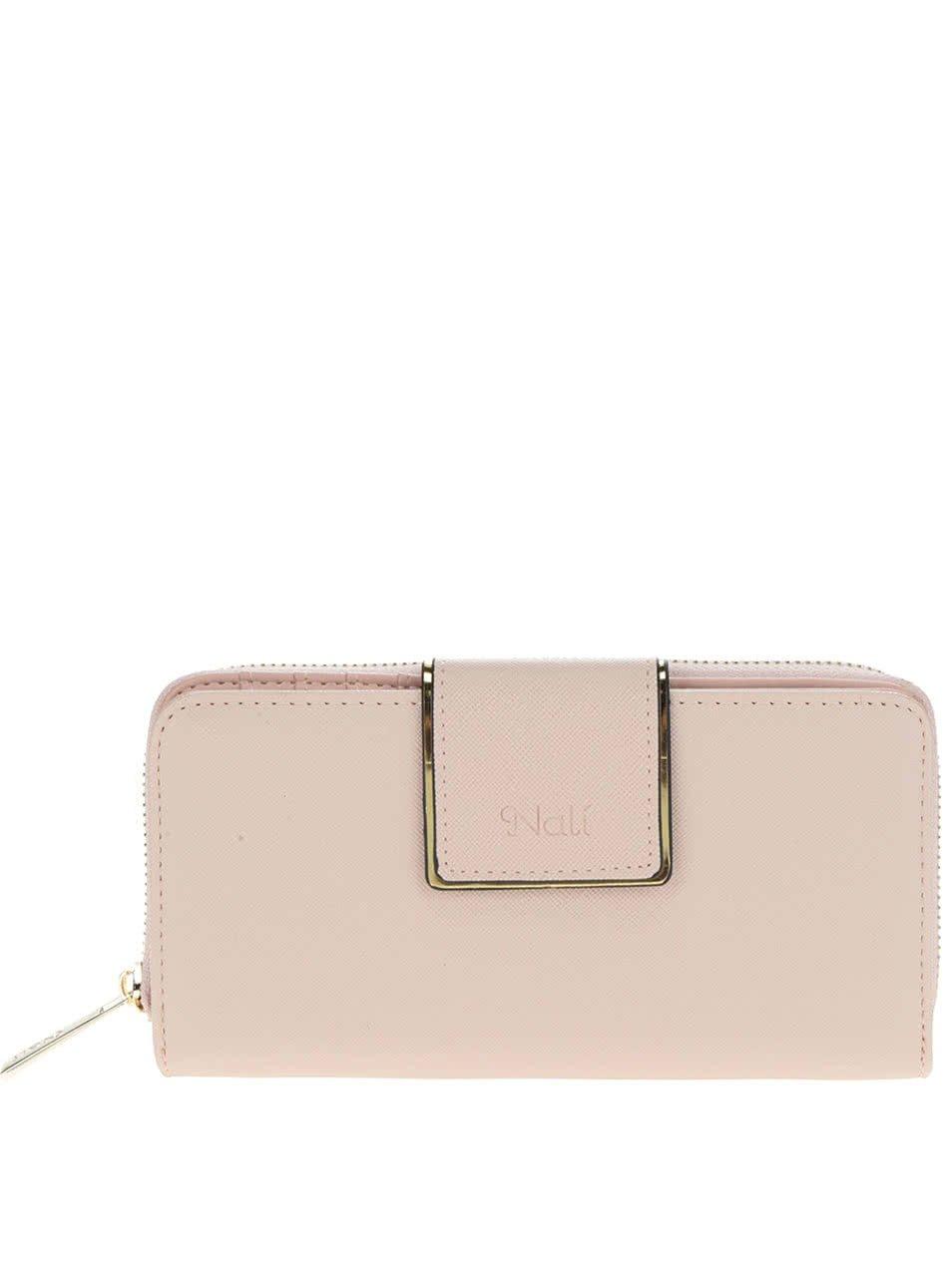 Světle růžová peněženka s detaily ve zlaté barvě Nalí