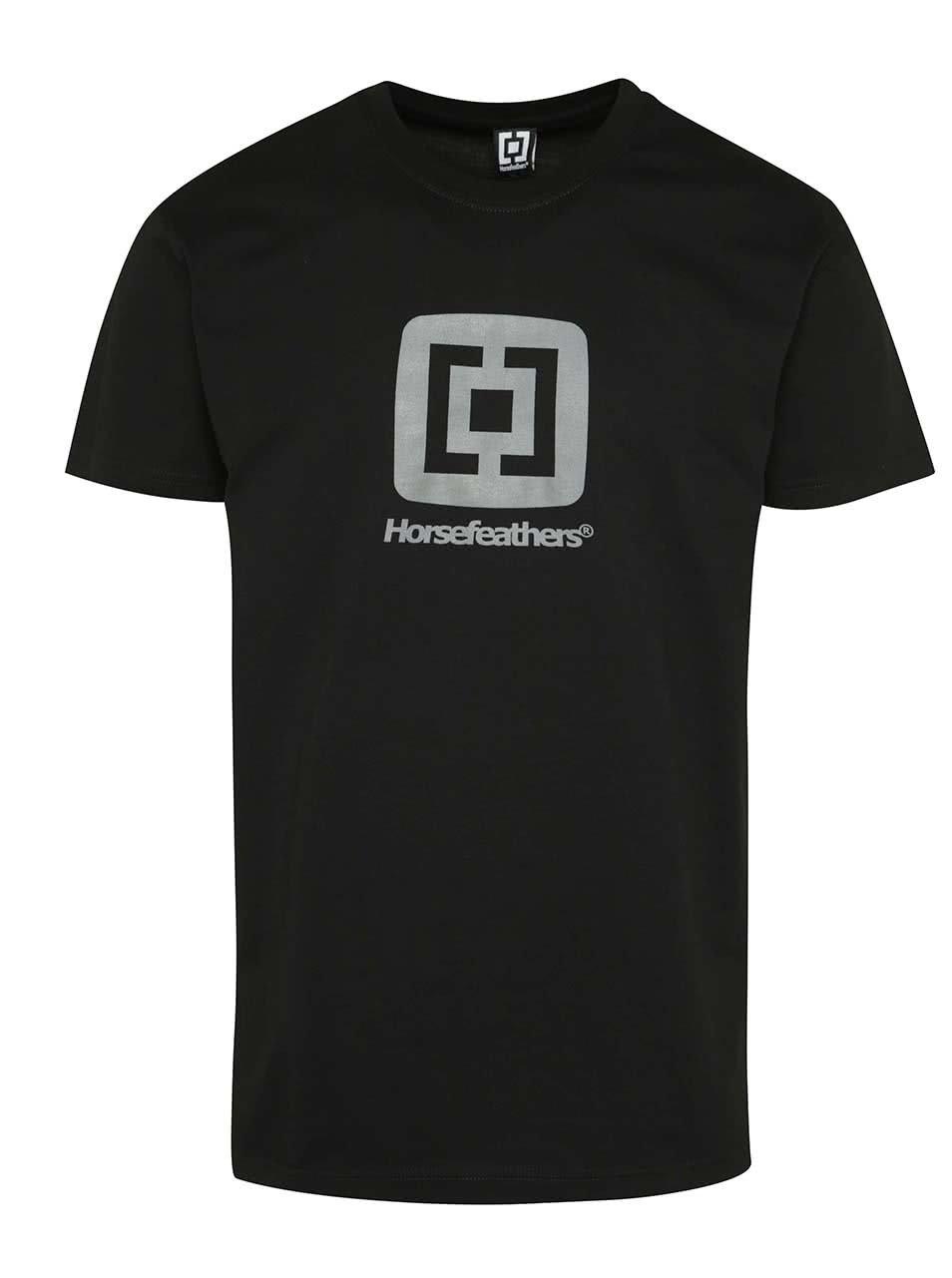 Černé pánské triko s potiskem Horsefeathers Fair