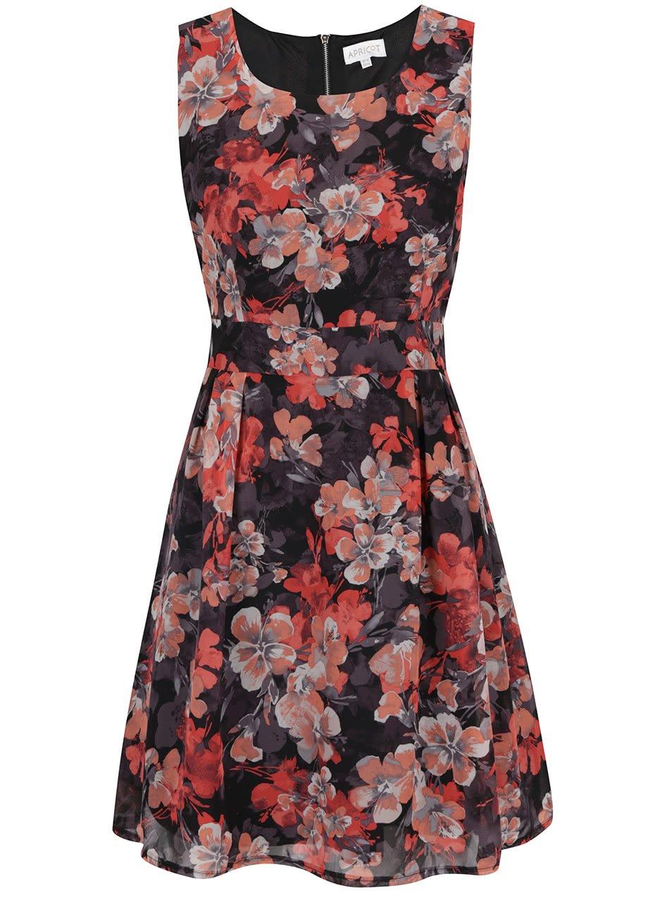 Červeno-černé květované šaty bez rukávů Apricot