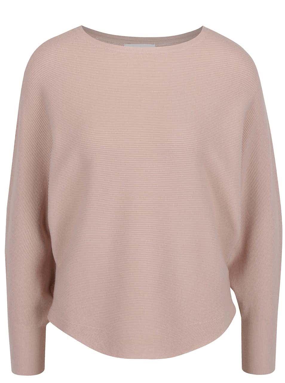 Starorůžový žebrovaný svetr s krajkou na zádech Apricot