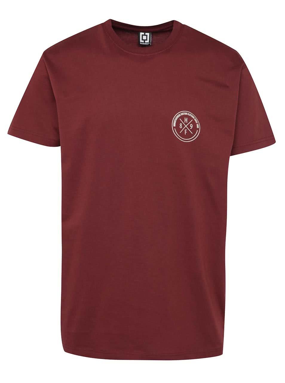 Vínové pánské triko s potiskem na zádech Horsefeathers