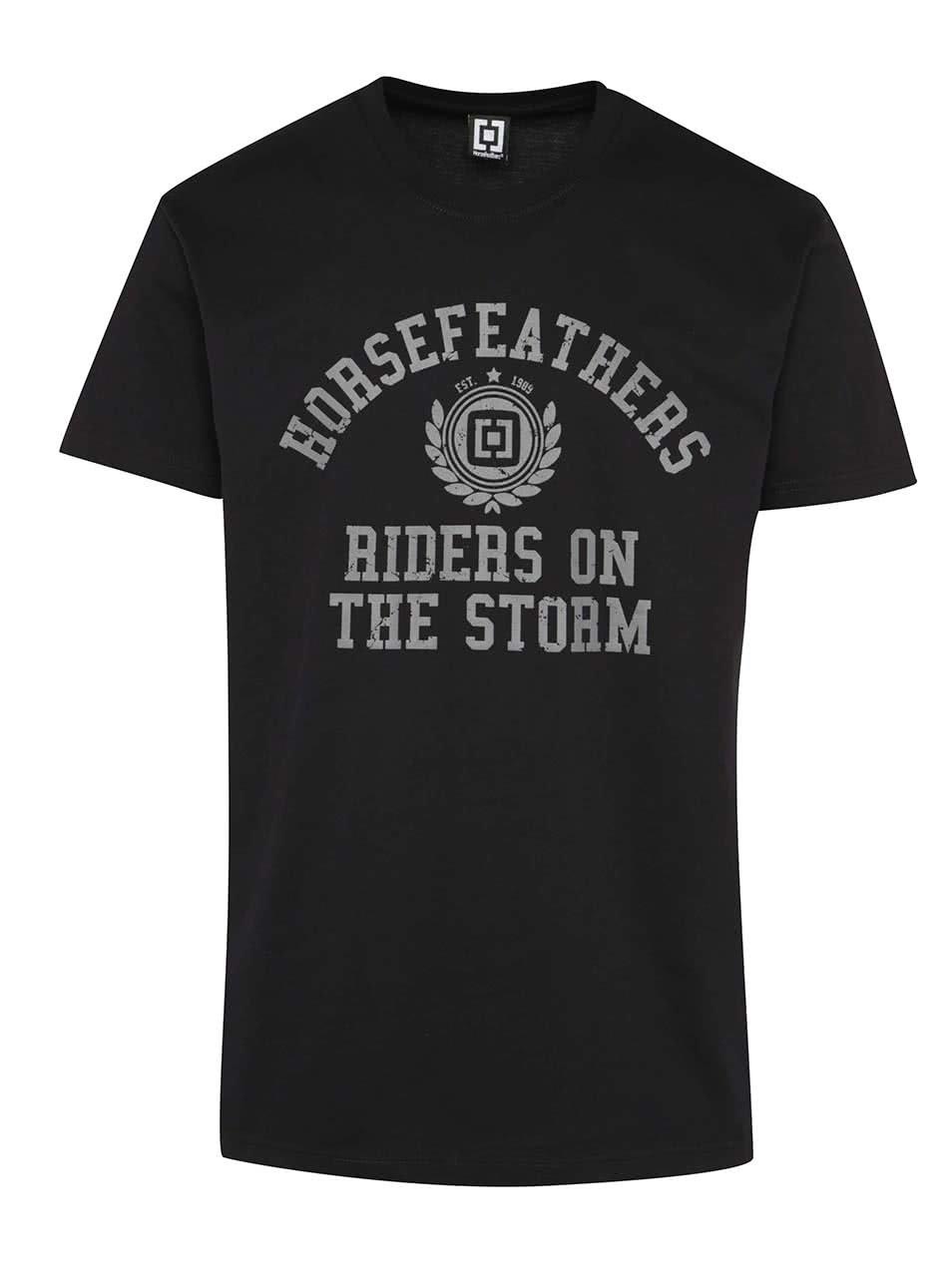 Černé pánské triko s potiskem Horsefeathers University