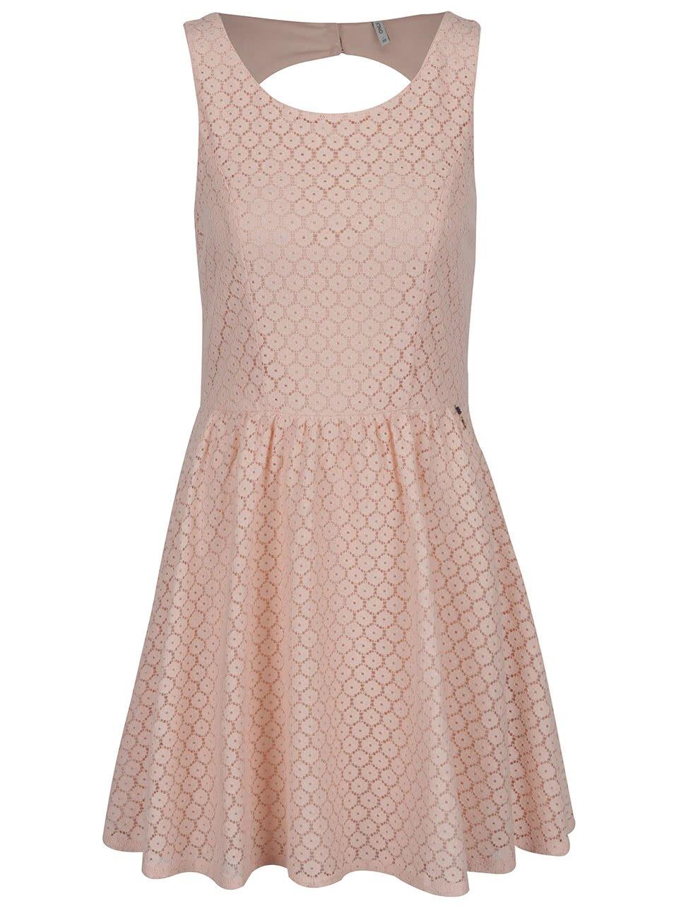 Světle růžové krajkové šaty ONLY Line Fairy