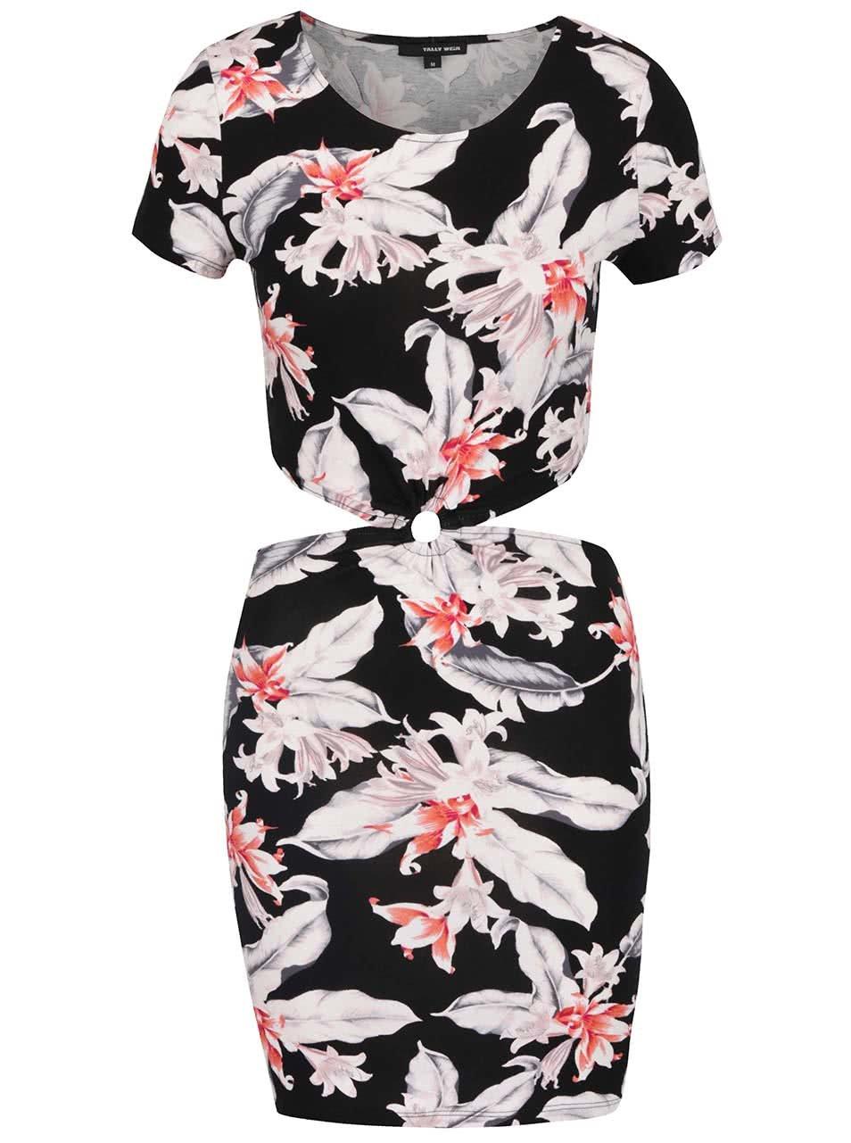 Černé květované šaty s průstřihy TALLY WEiJL