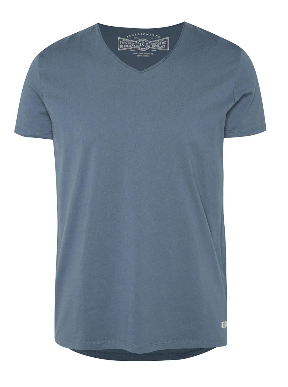 Modré triko s véčkovým výstřihem Jack & Jones Wolf