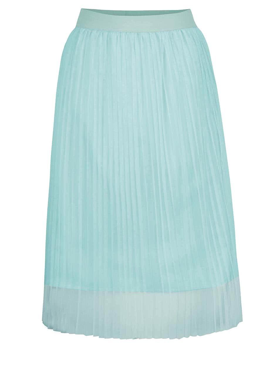 Světle modrá tylová plisovaná midi sukně TALLY WEiJL