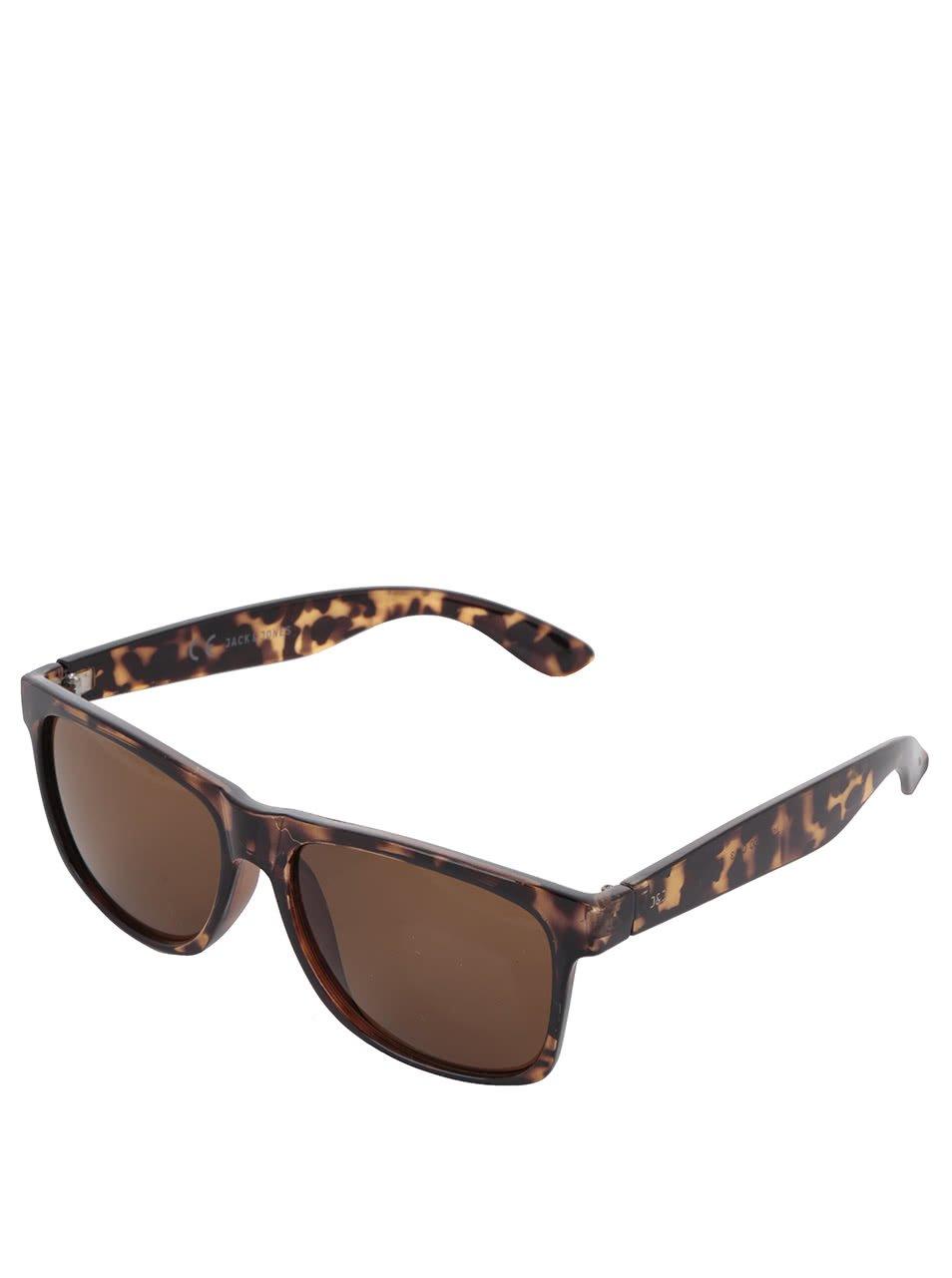 Tmavě hnědé vzorované sluneční brýle Jack & Jones Leo