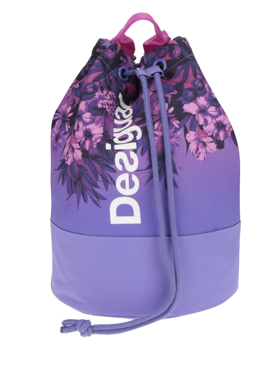 Růžovo-fialový květovaný vak Desigual Sport Bols