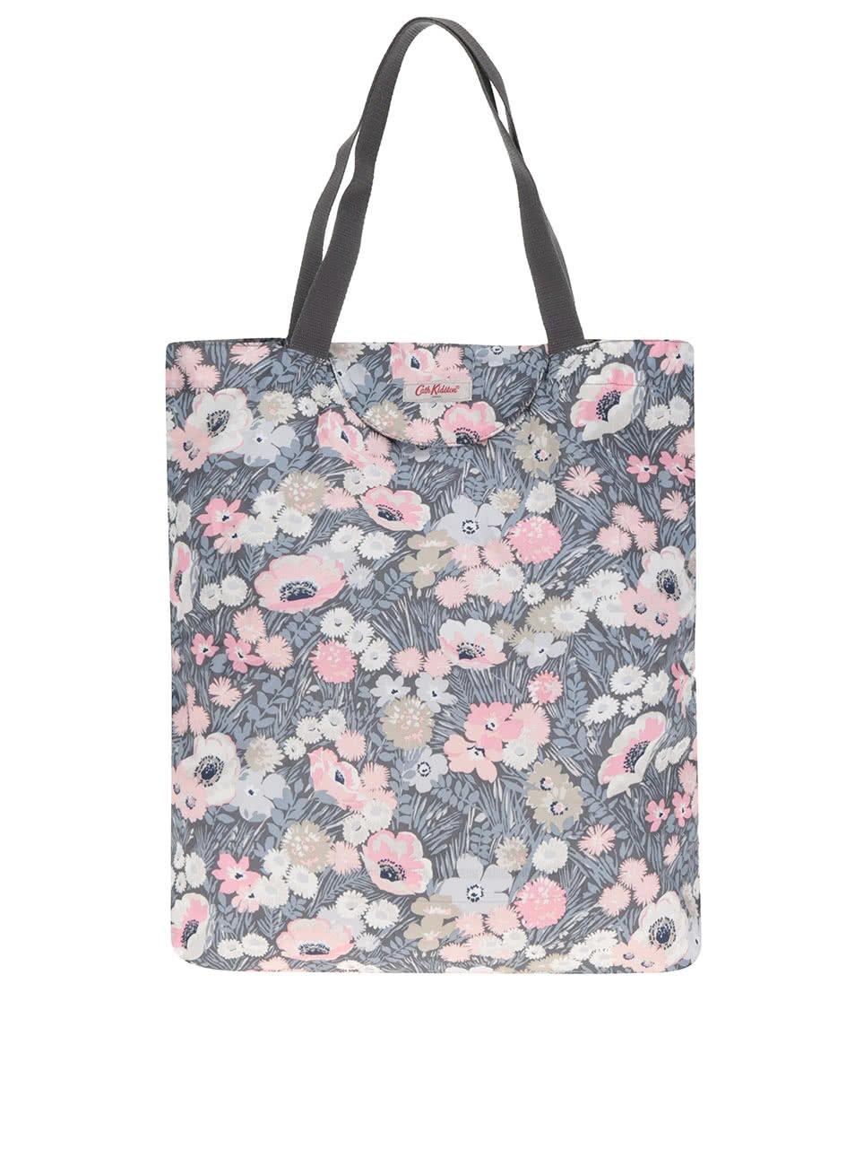 Růžovo-šedá dámská květovaná taška Cath Kidston