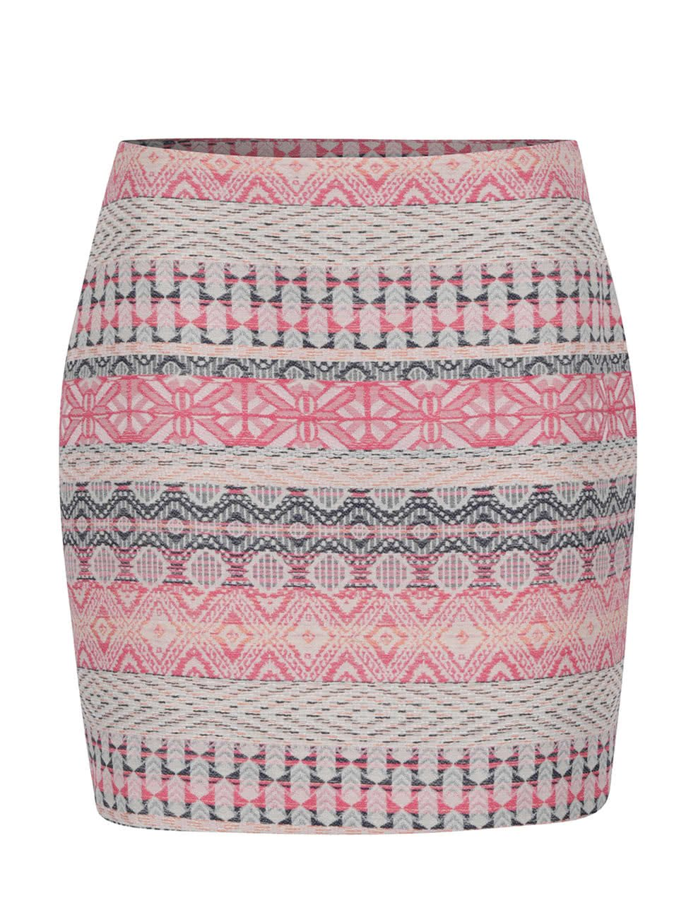 Krémovo-růžová vzorovaná sukně VERO MODA Trio-Blingy
