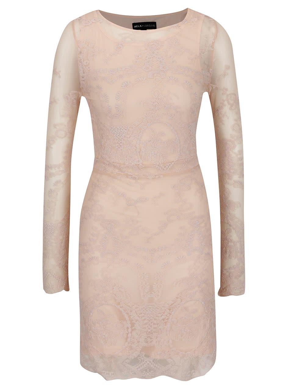 Světle růžové krajkové šaty s dlouhým rukávem Mela London