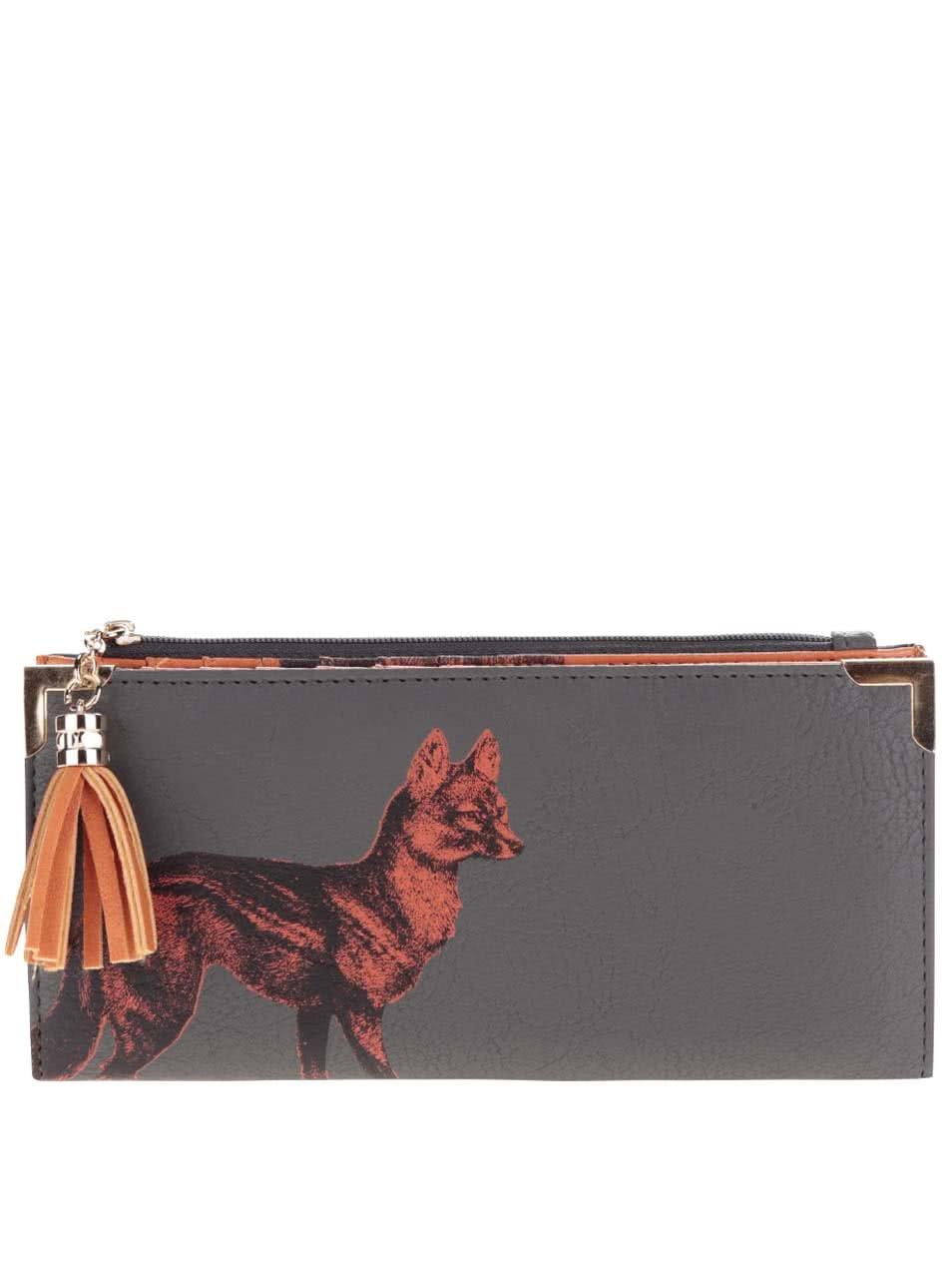Oranžovo-šedá peněženka s potiskem lišky Disaster
