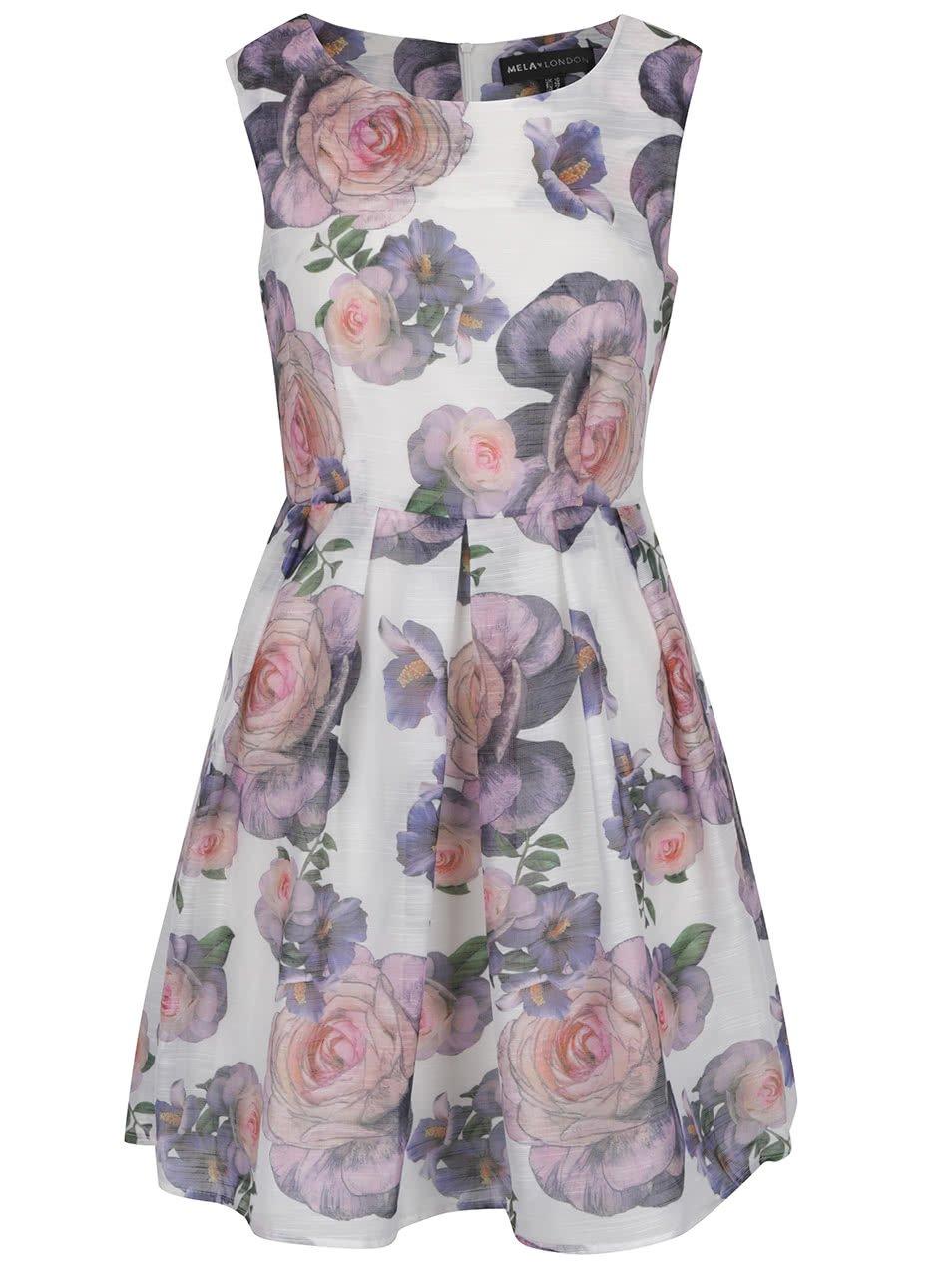 Krémové květované šaty Mela London