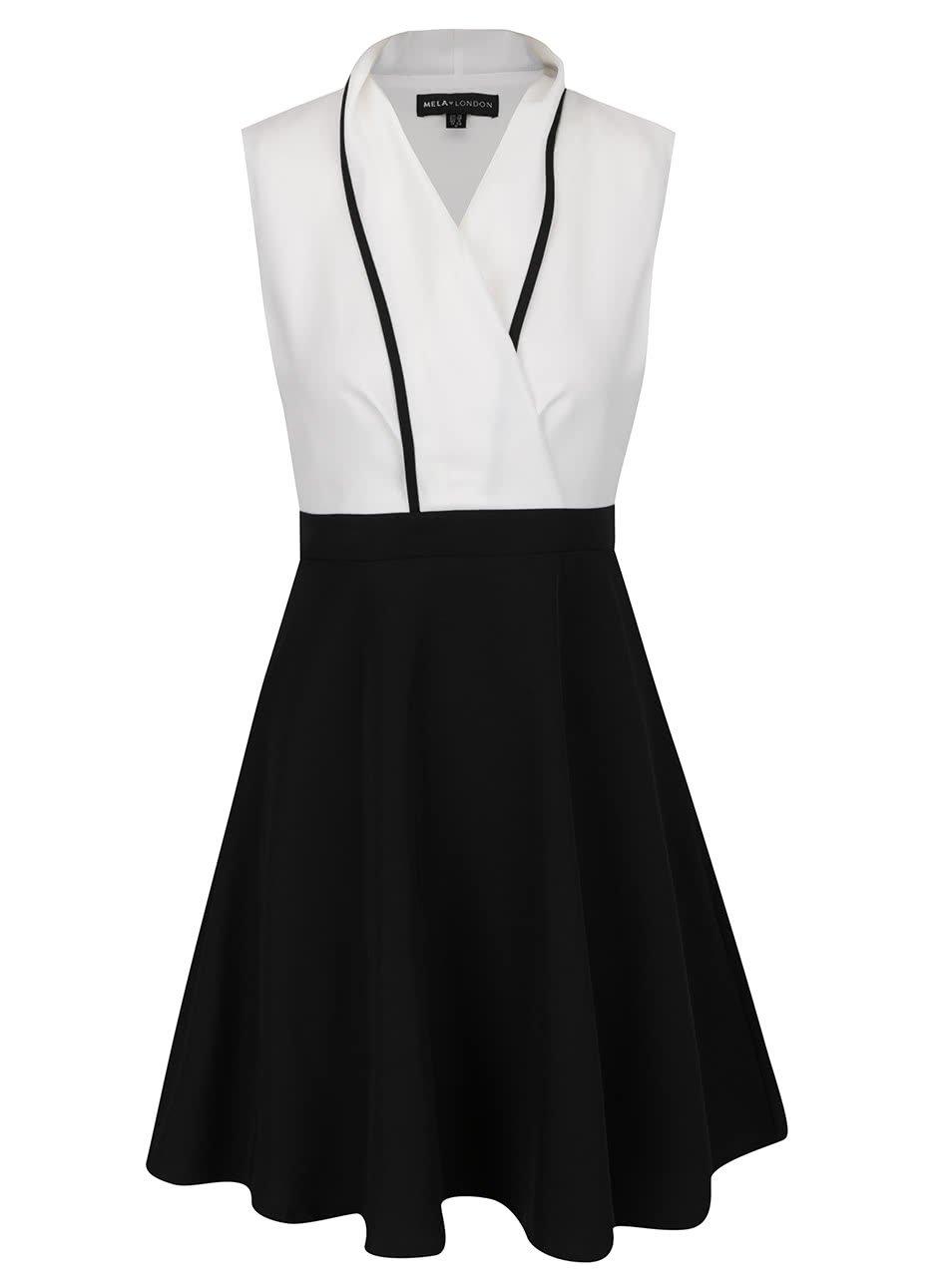 Černo-krémové šaty Mela London