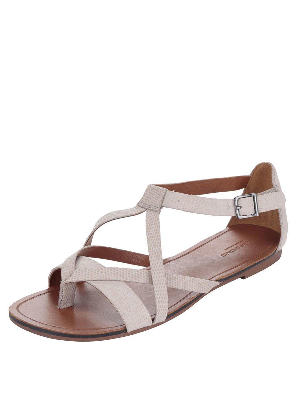 Béžové dámské kožené sandály s jemným vzorem Vagabond Tia