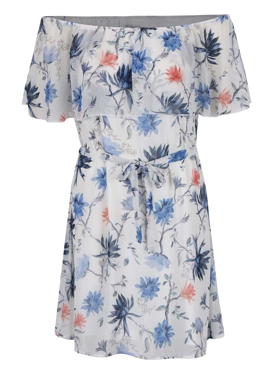 Modro-bílé květované šaty s odhalenými rameny ONLY Aura
