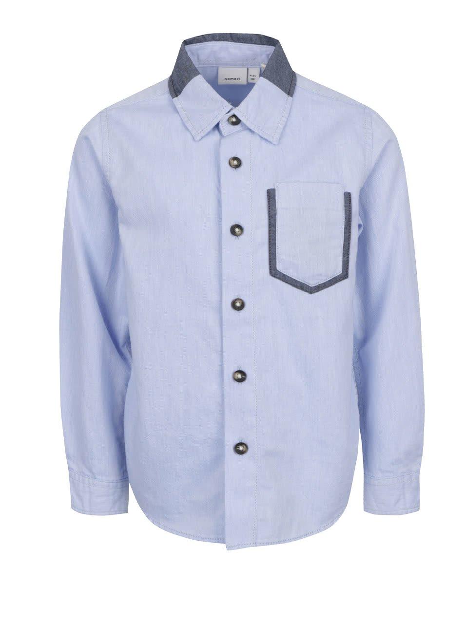 Světle modrá klučičí košile s dlouhým rukávem name it Fille