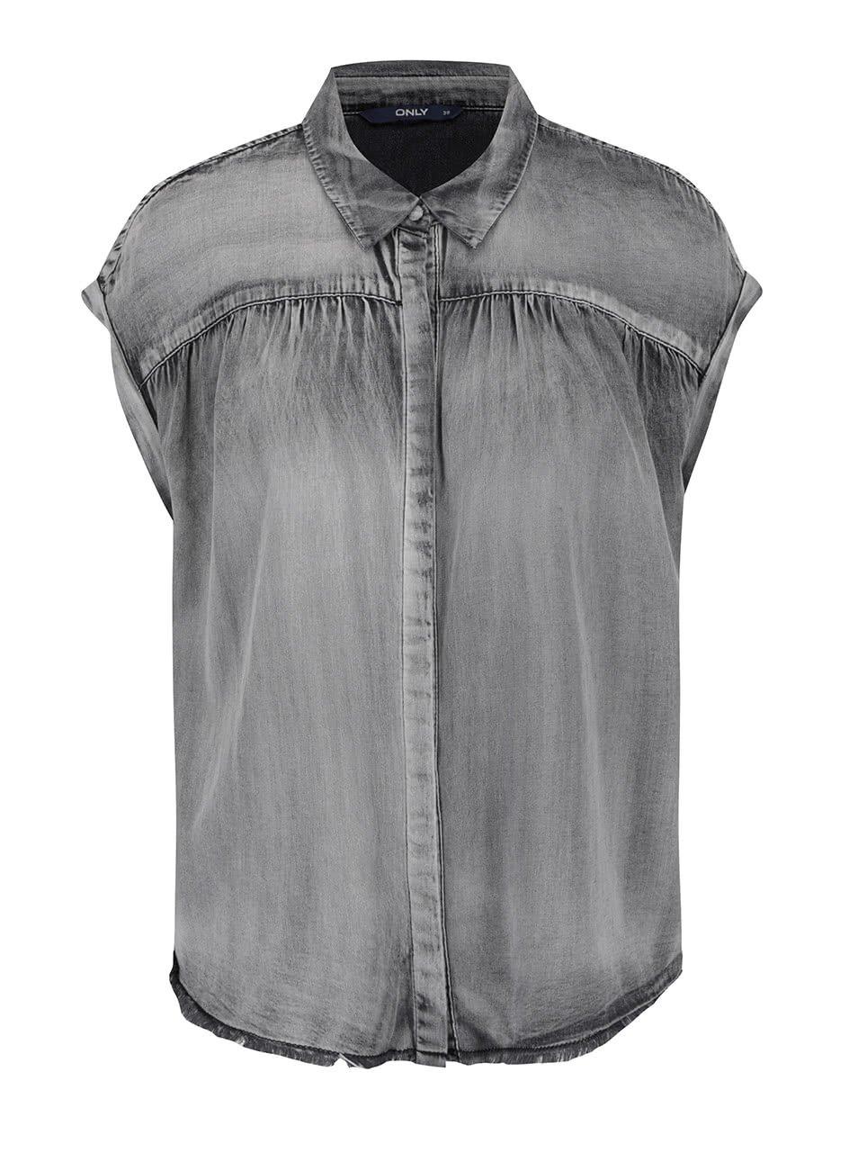Šedá džínová košile bez rukávů ONLY Maggie