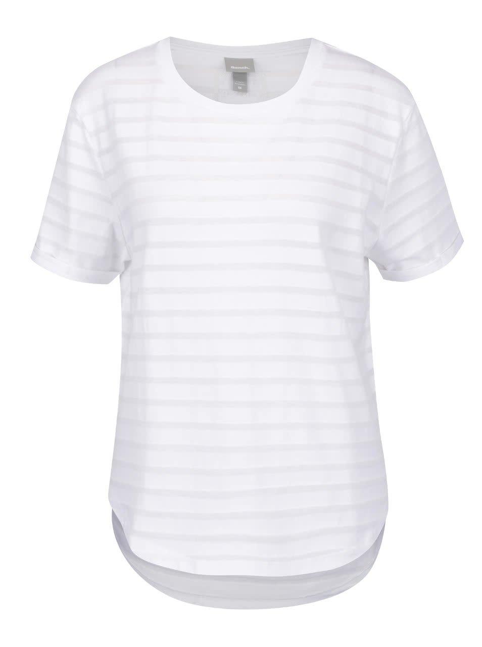 Bílé tričko s průsvitnými pruhy Bench