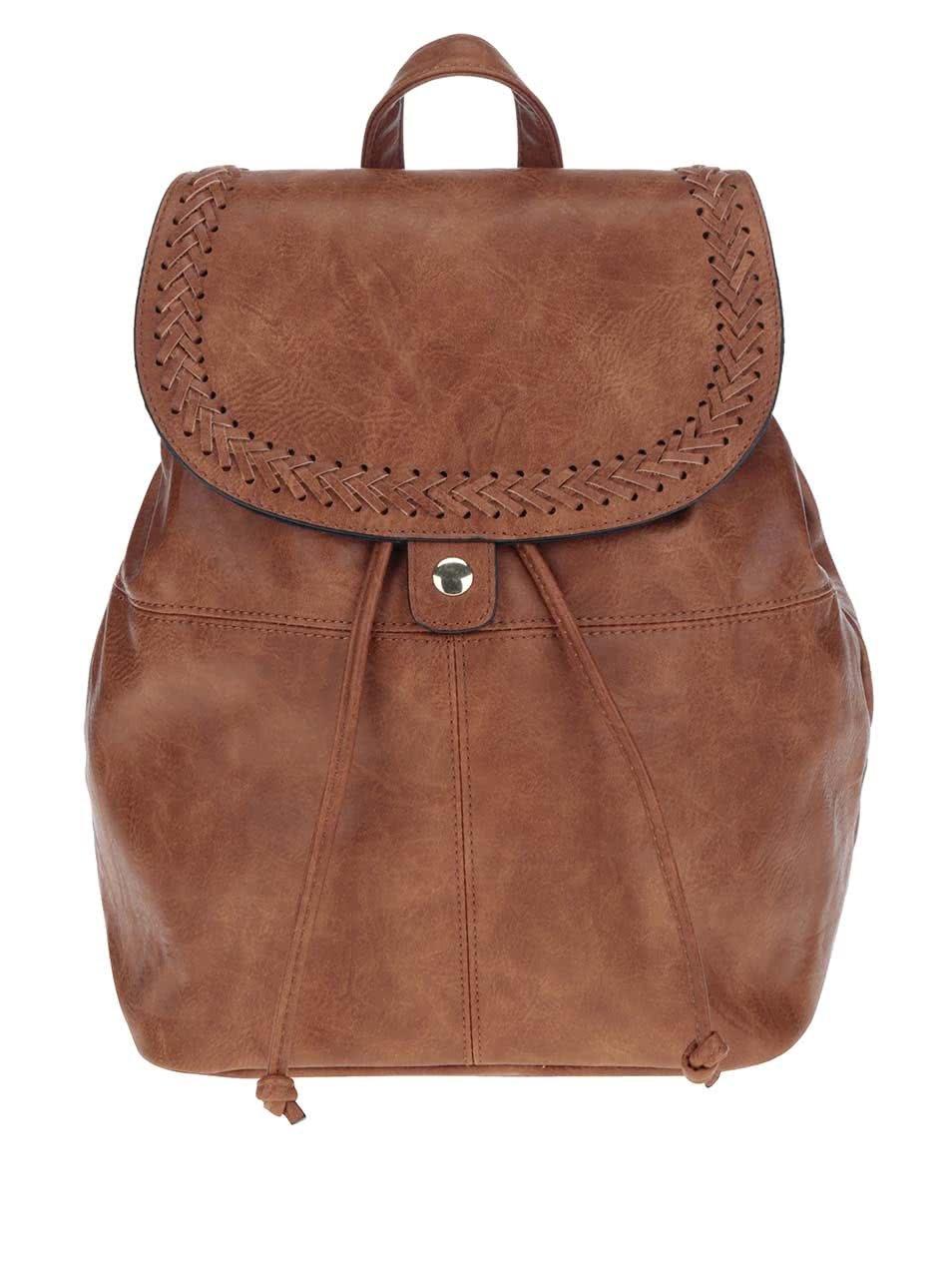 Hnědý koženkový batoh Pieces Sadie