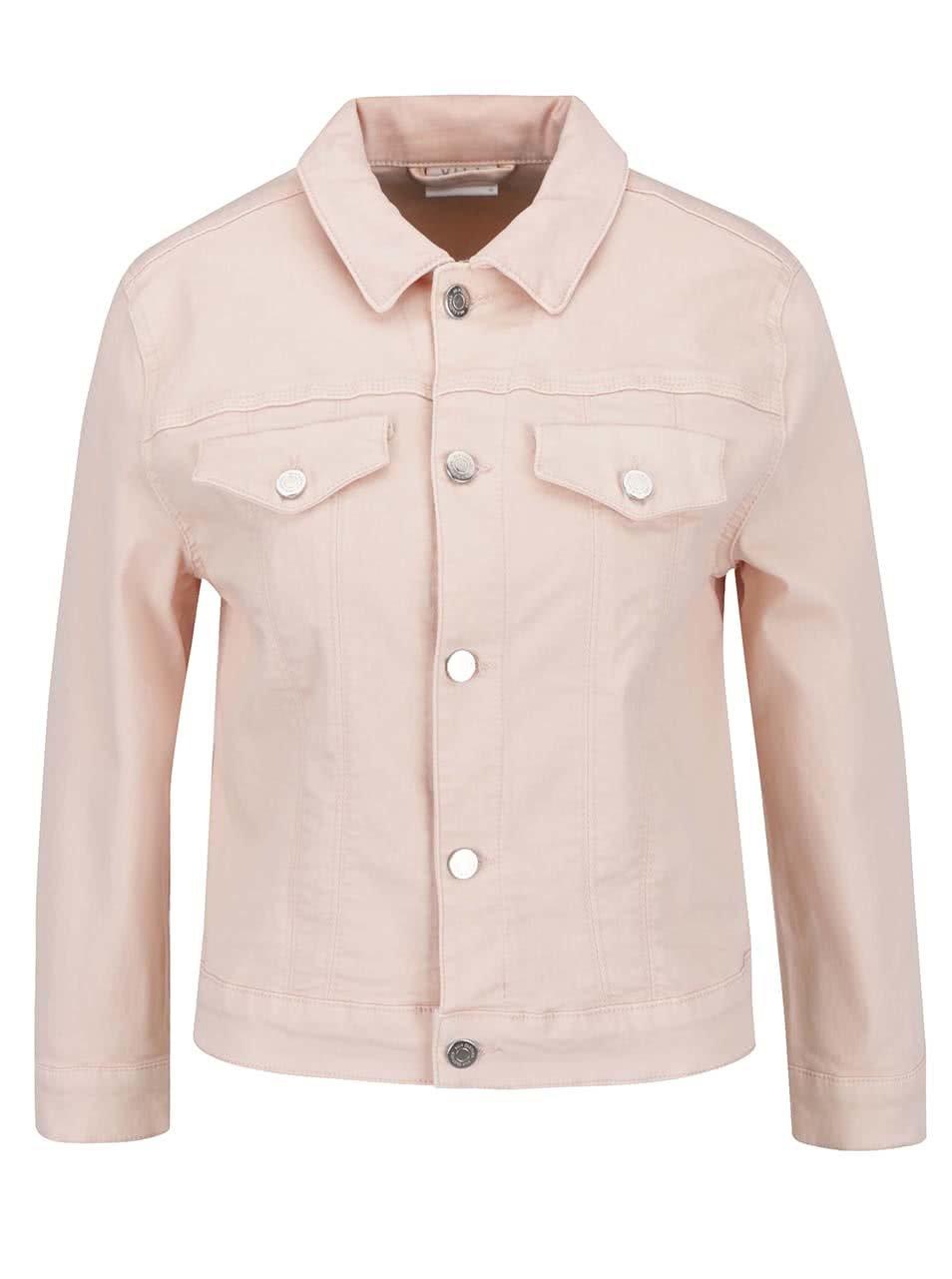 Světle růžová džínová bunda s kapsami VILA Birkin