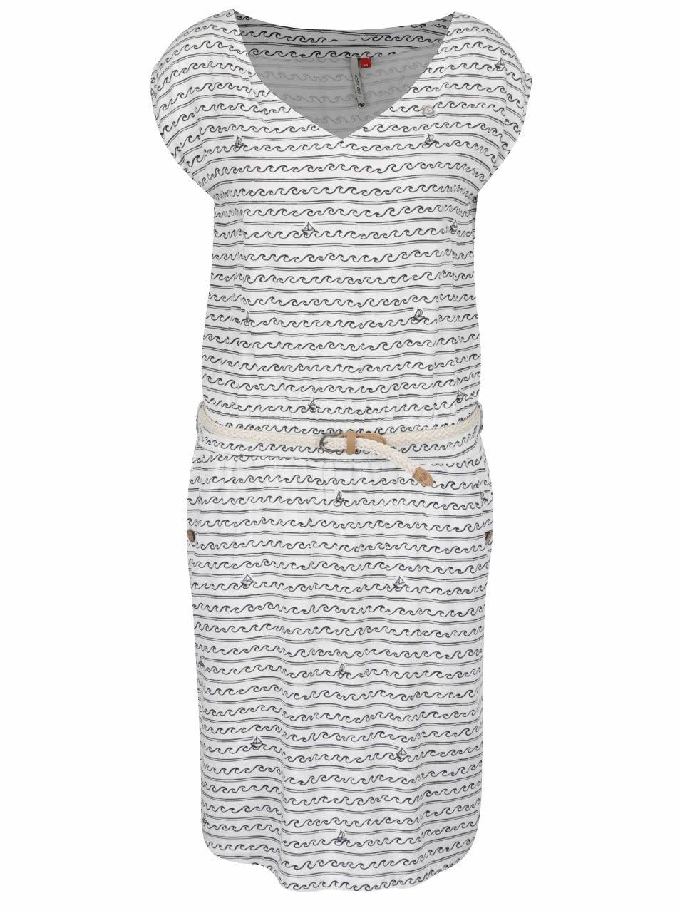 Krémové vzorované šaty s páskem Ragwear Carolina