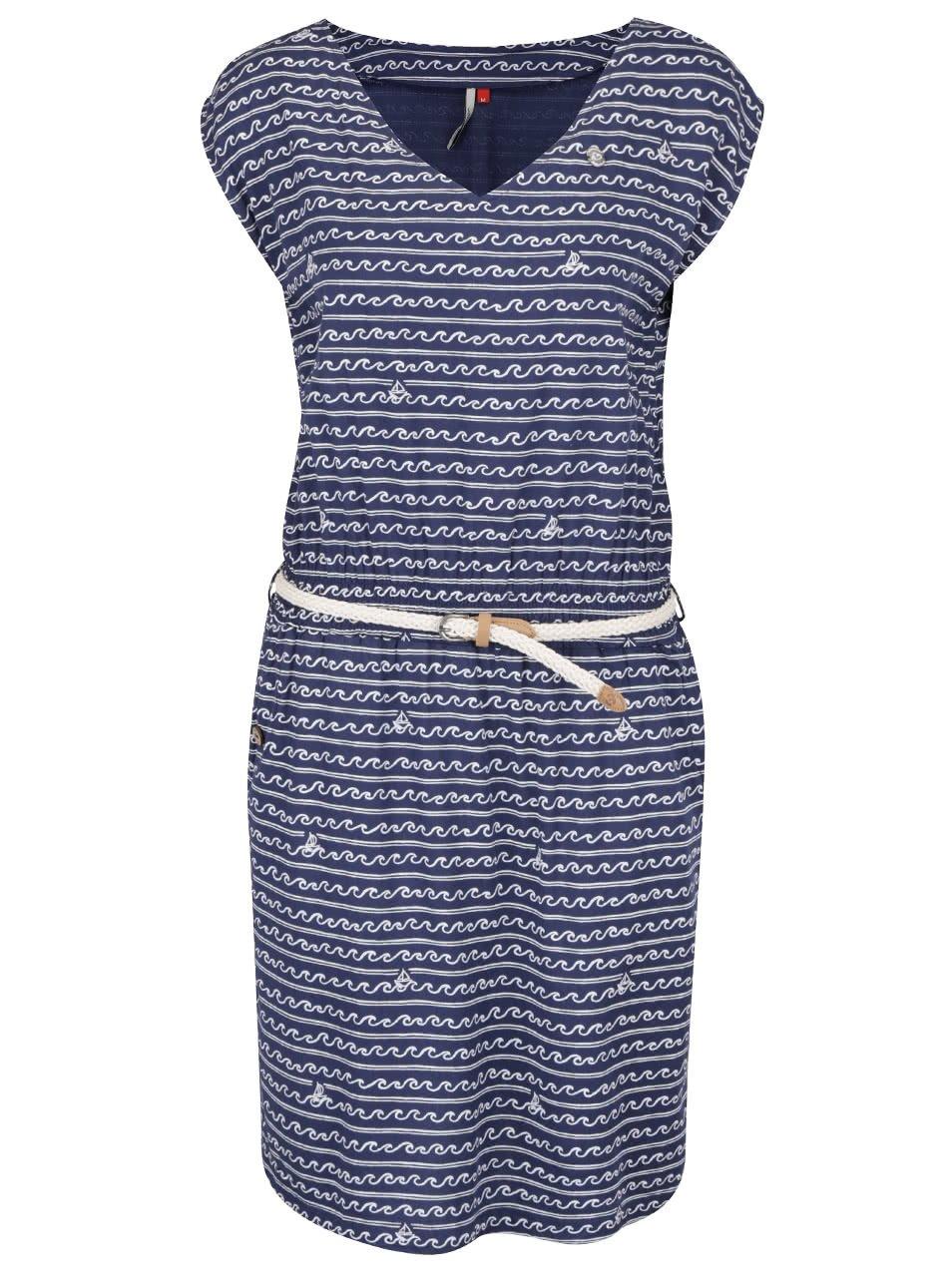 Modré vzorované šaty s páskem Ragwear Carolina