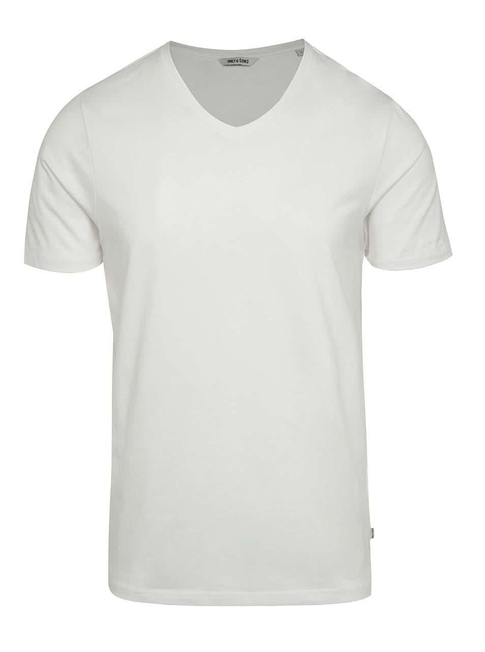 Krémové basic triko s krátkým rukávem ONLY & SONS Basic