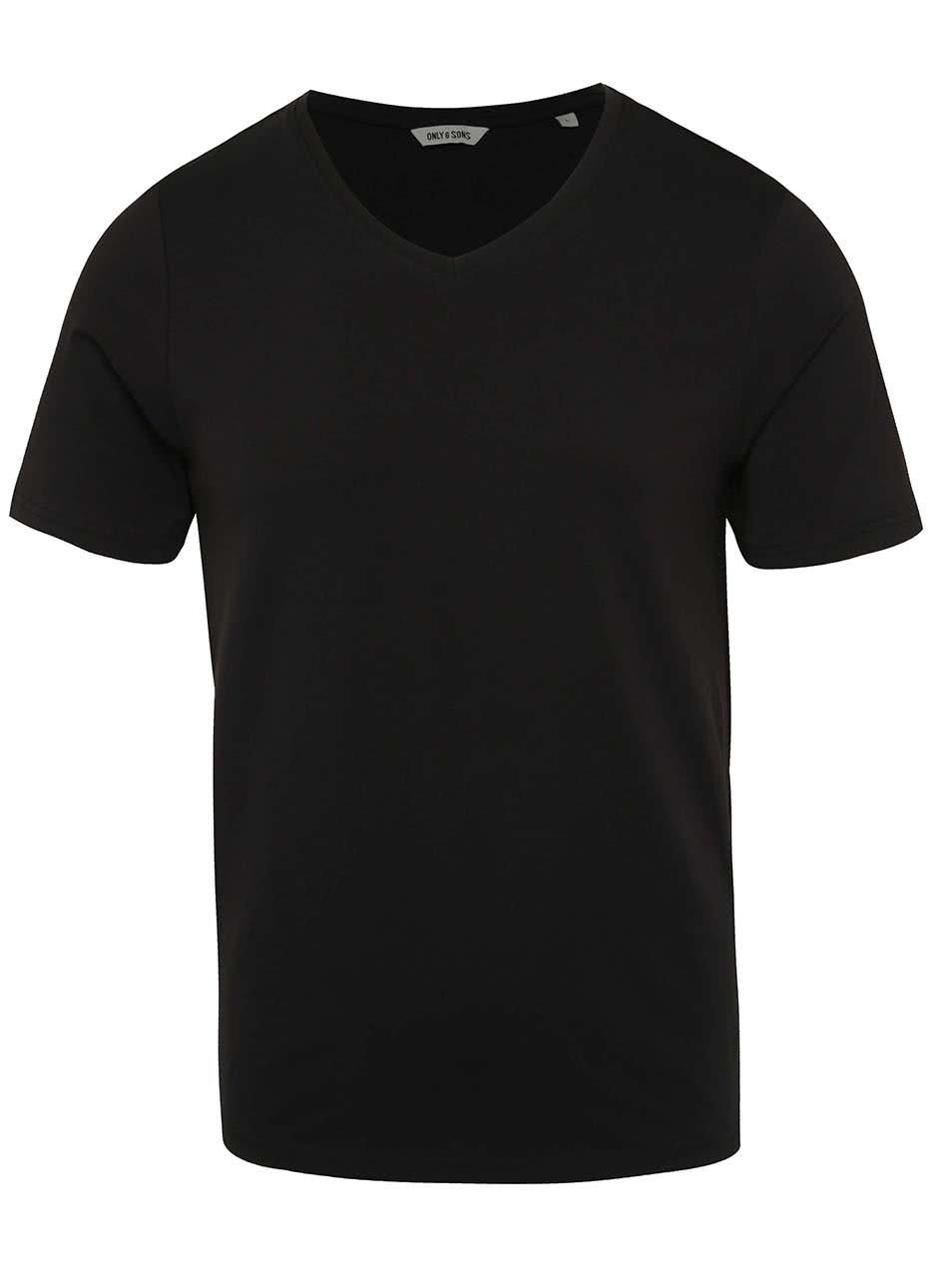 Černé basic triko s krátkým rukávem ONLY & SONS Basic