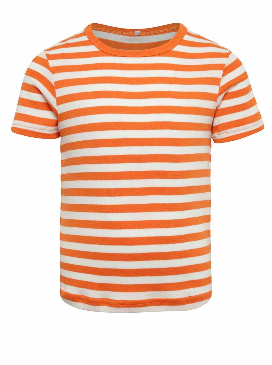 Oranžové klučičí pruhované triko name it Villy