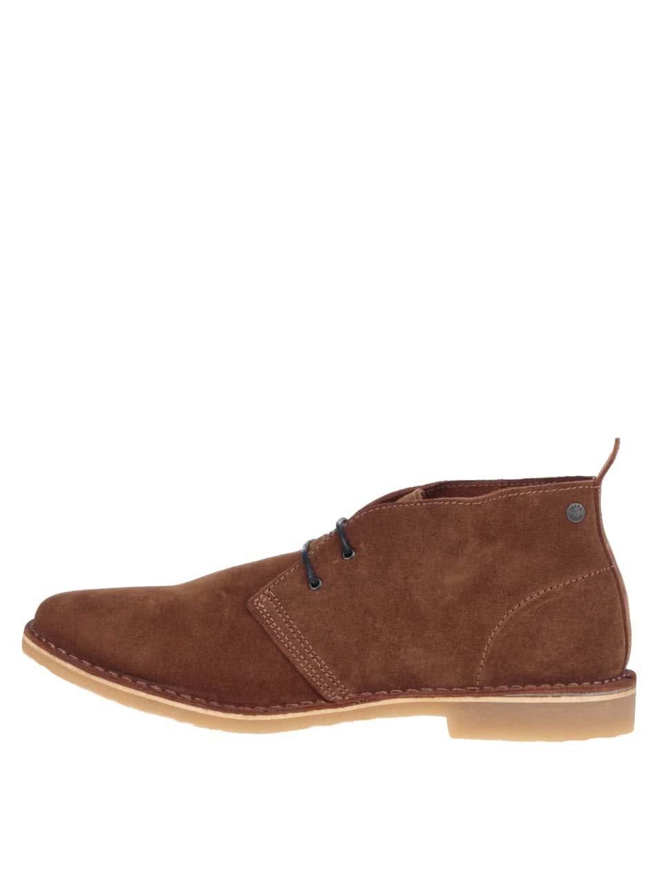 Hnedé pánske semišové členkové topánky Jack & Jones Gobi