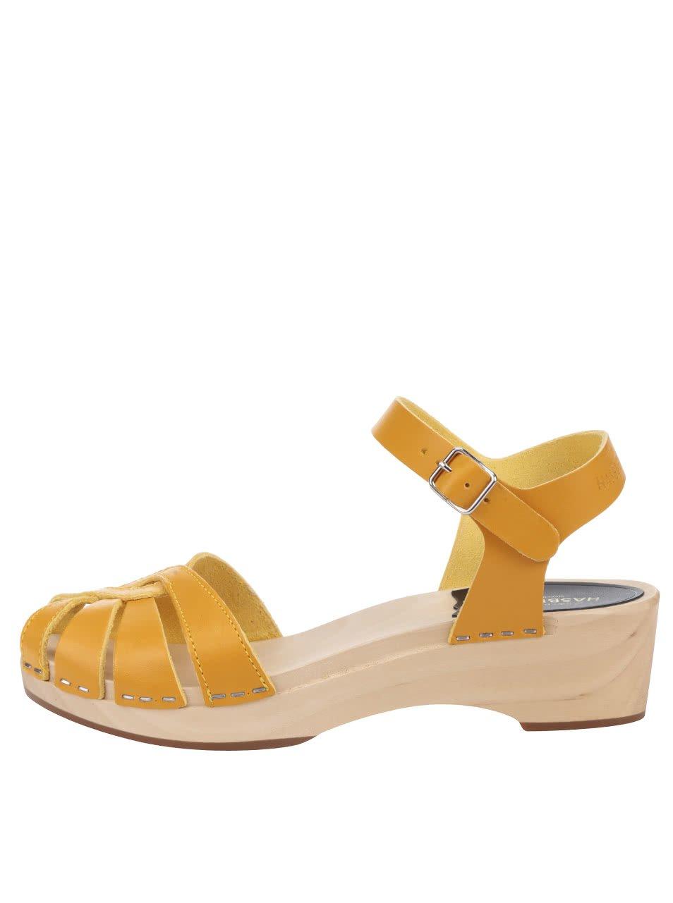 Dřeváky se žlutými koženými pásky Swedish Hasbeens Cross Strap Debutant