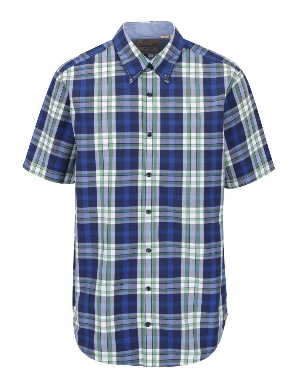 Zeleno-modrá kostkovaná košile s krátkým rukávem JP 1880 46e6ff80b5
