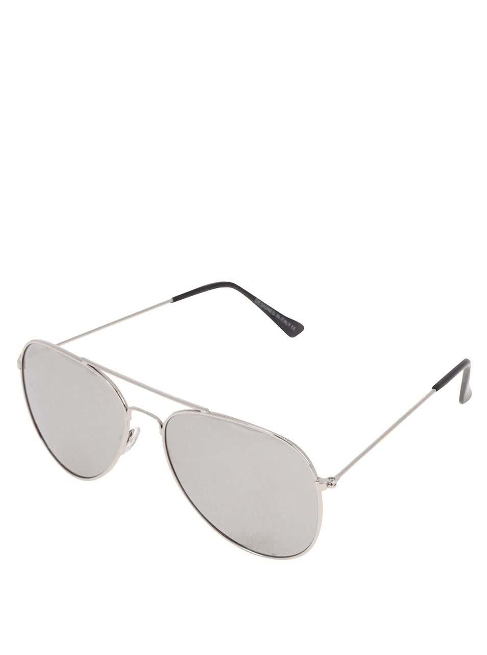 Sluneční brýle s obroučkami ve stříbrné barvě Haily´s Pilot