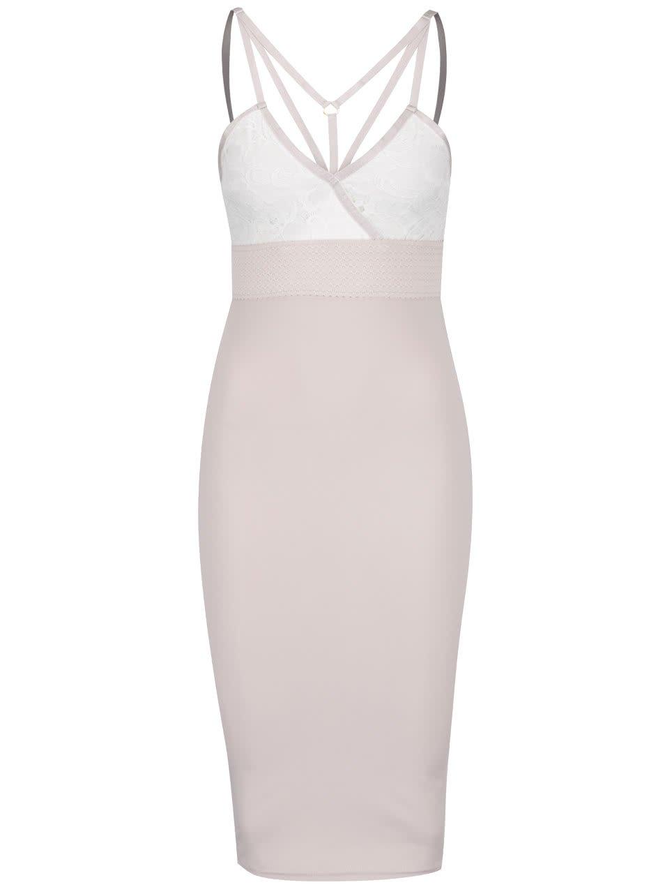 Starorůžové pouzdrové šaty s krajkou a pásky v dekoltu AX Paris
