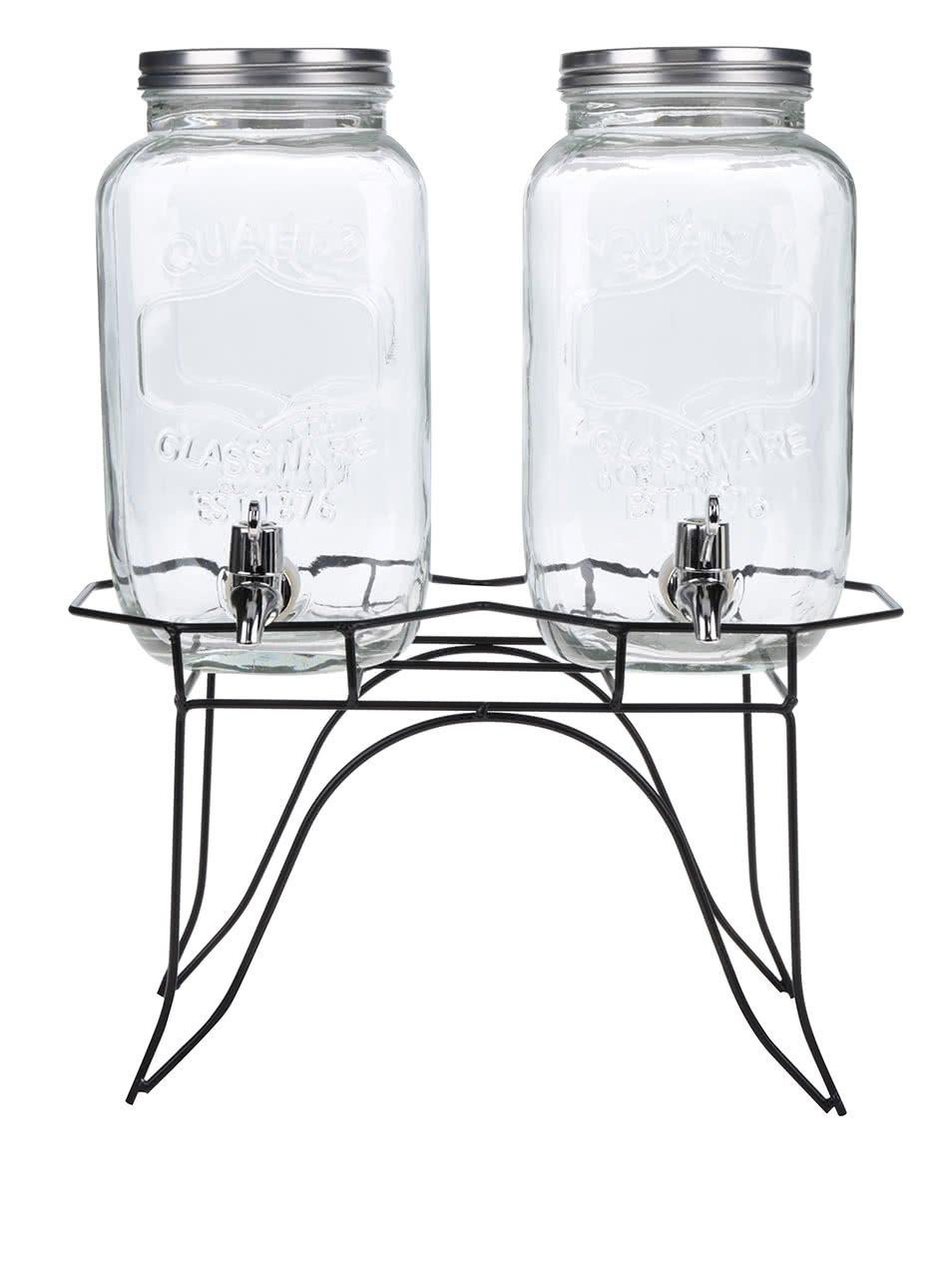 Dva skleněné nápojové barely se stojanem Dakls 6 l