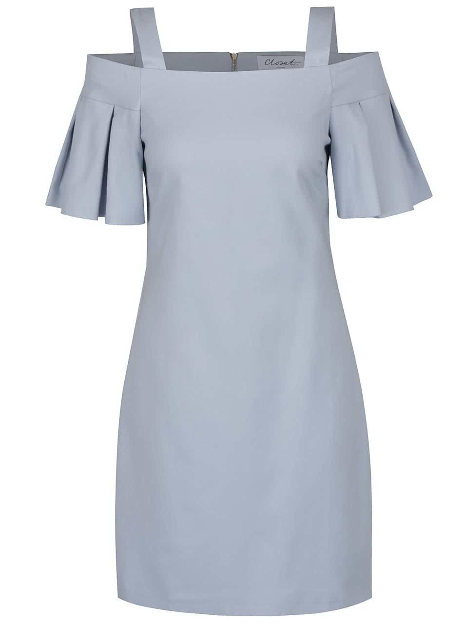 Světle modré šaty s odhalenými rameny Closet