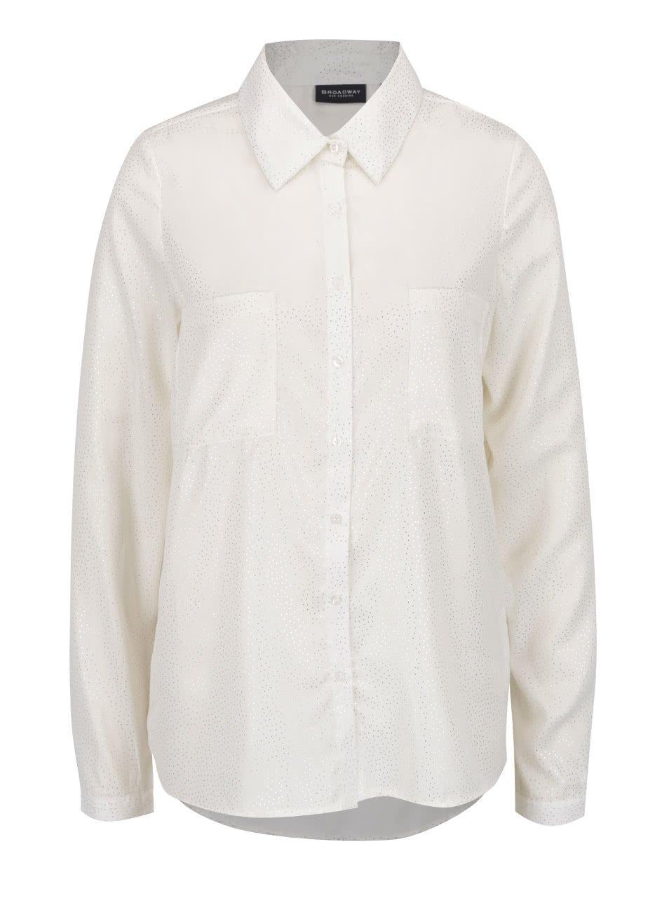 9605fe5e42a Krémová dámska bodkovaná košeľa s dlhým rukávom Broadway Doris