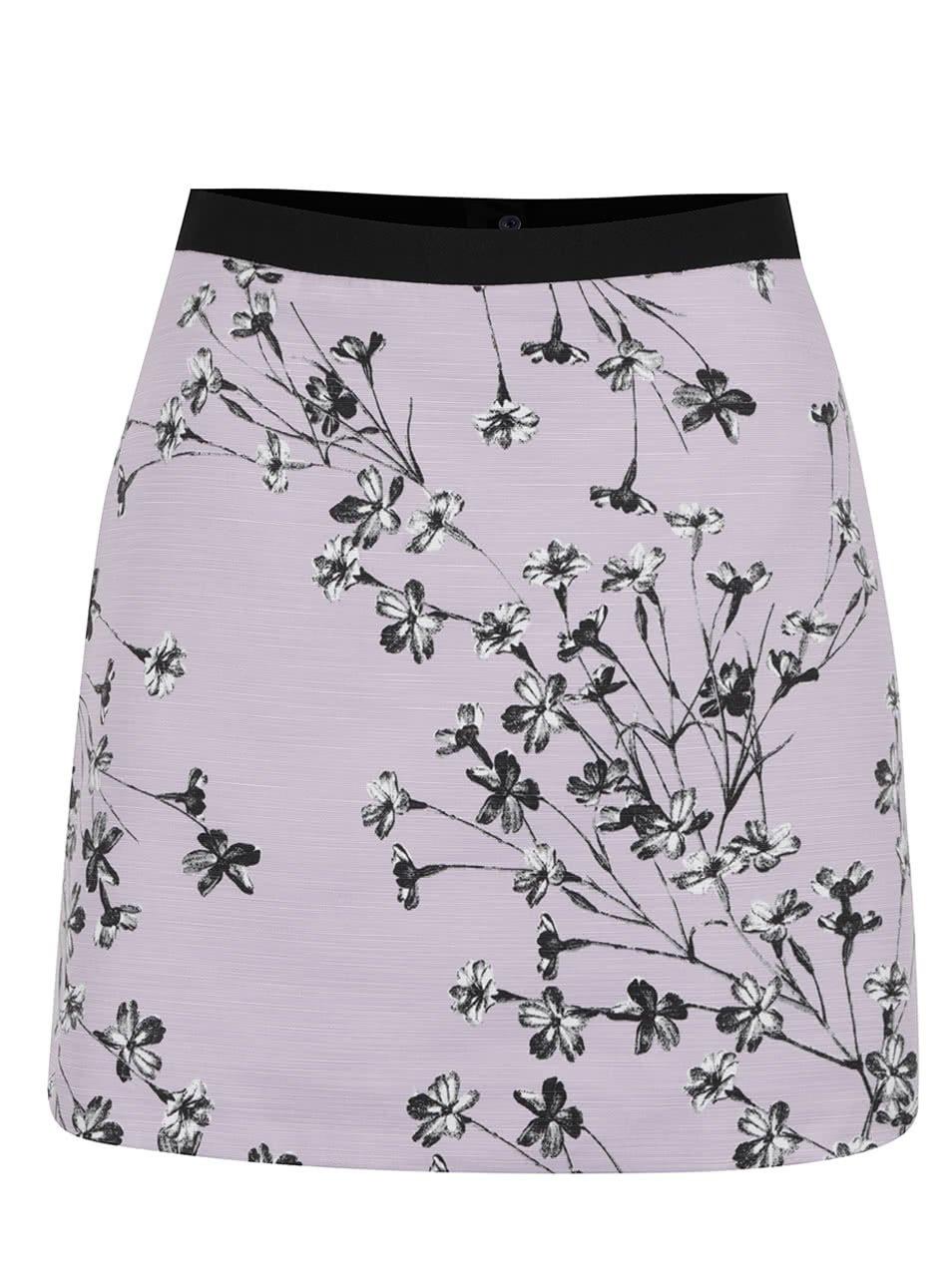 Fialová sukně s květovaným potiskem Miss Selfridge