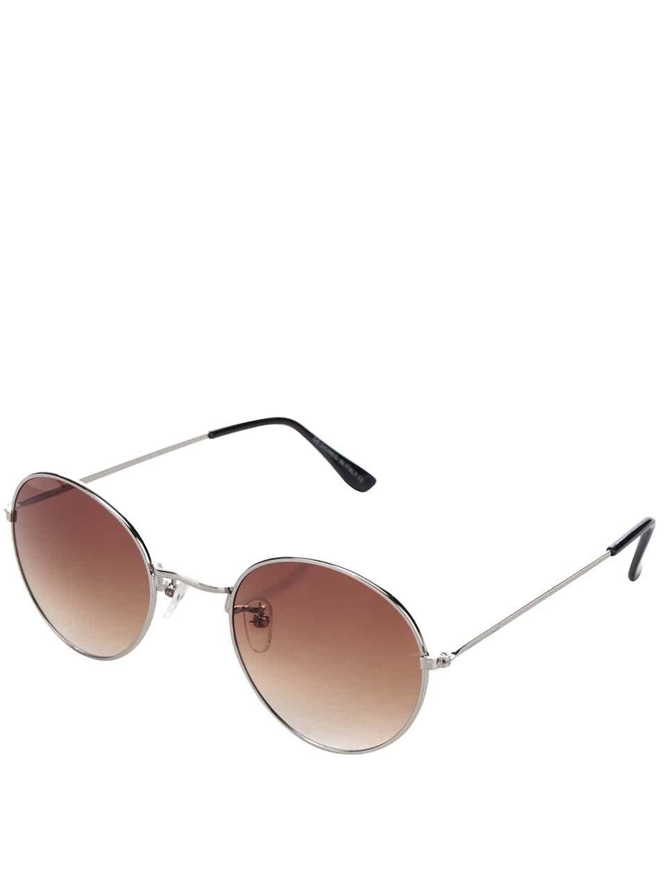 Sluneční brýle s obroučkami ve sříbrné barvě a hnědými skly Haily´s Rondie