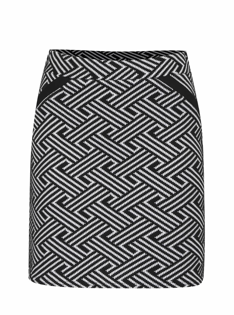 Krémovo-černá vzorovaná áčková sukně Miss Selfridge